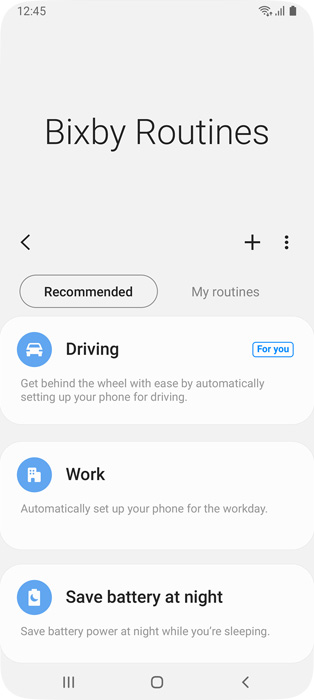 Bixby Routines screen showing preset routines you can use to efficiently use your favorite apps.