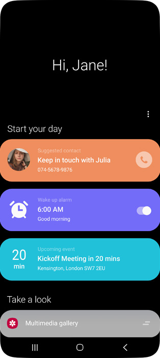 Bixby Home screen showing Suggestions, Reminders, Calendar Events, and easy access to your favorite content.