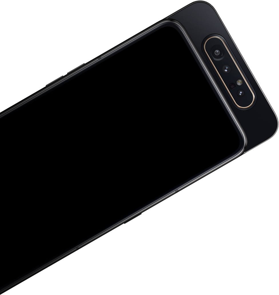Front view of Galaxy A80 laid flat.