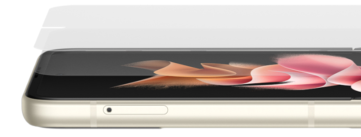 Layers of glass float above the Main Screen on Galaxy Z Flip3 5G, then fuse together. The phone shifts slightly to show the side and demonstrate the thinness of Samsung Ultra Thin Glass, then folds slightly to show the flexibility of the glass. Galaxy Z Flip3 5G continues folding and flexing, as well as rotating towards the front to show Flex mode. It continues turning until the Front Cover and the hinge are visible. Galaxy Z Flip3 5G folds completely to show the Front Cover made of Corning® Gorilla Glass® Victus™. Another Galaxy Z Flip3 5G appears from the side. It is unfolded slightly and then folds shut as well to show the Back Cover, also made of Corning® Gorilla Glass® Victus™.