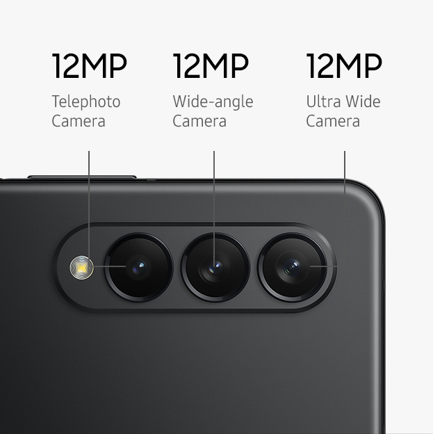A close-up of the Rear Camera on Galaxy Z Fold3 5G showing the flash, Telephoto Camera and Wide-angle Camera.