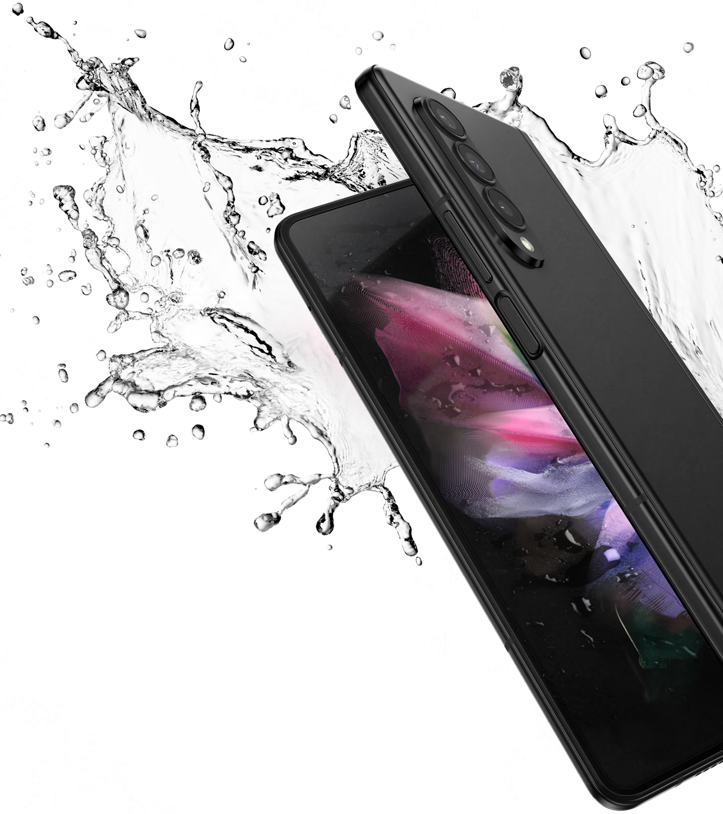 Galaxy Z Fold3 5G partially unfolded and seen from the open side, with a colorful wallpaper on the Main Screen. It is surrounded by a splash of water.