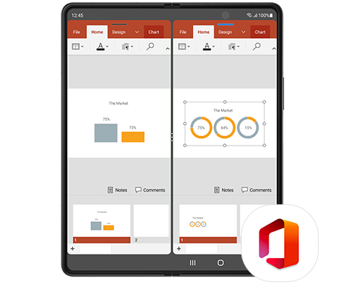 Galaxy Z Fold3 5G unfolded with two instances of PowerPoint on the Main Screen. One window has a bar graph and the other has circle graphs, to show how you can work on two documents at once with Multitasking. Microsoft Office logo.